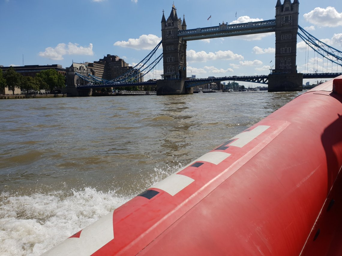 tower bridge by boat