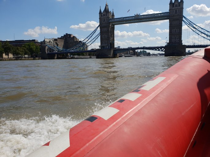 tower bridge by boat